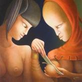 <b>Le partage</b> - Huile sur toile - 40 X 50 Collection privée