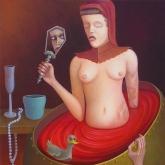 <b>Le bain</b> - Huile sur toile - 65 X 81
