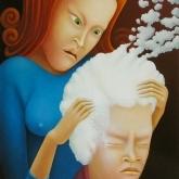 <b>Le shampoing</b> - Huile sur topile - 46x38